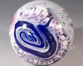 Dichroic labyrinth art glass paperweight mentuck