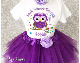 Owl LOOK Whos Whoos Purple Lavender 1st 2nd 3rd 4th 5th 6th 7th Birthday Personalized Custom Name Age Shirt Tutu Set Girl Outfit Party Dress