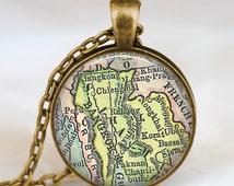 Thailand siam vintage map necklace, bangkok siam map pendant, Thailand vintage  map jewelry , siam necklace, bangkok necklace jewelry