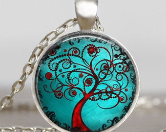Curly Tree of life silver finish necklace ,Tree of life turquoise blue jewelry , red tree of life pendant , handmade jewelry, photo pendant
