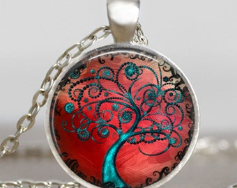 Tree of life turquoise blue  necklace ,Tree of life  swirls red jewelry ,tree of life pendant , handmade jewelry,friend family gift