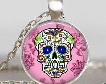 Sugar Skull  Pendant pink, Sugar Skull Necklace, Day of The Dead Necklace,art charm, handmade pendant, sugar skull jewelry