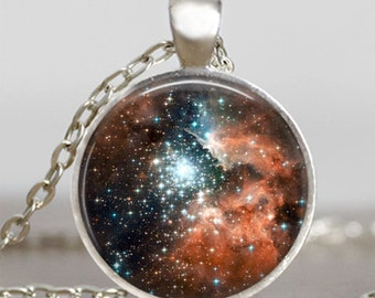 Milky way constellation pendant , constellation silver plated necklace, nebula space universe pendant