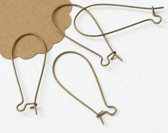 100pcs large antique brass finish long drop kidney earwire 38mm (0231)