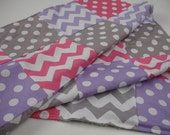 VALENTINE Hot Pink Lavender and Gray Chevrons and Dots Patchwork Minky Blanket Made to Order