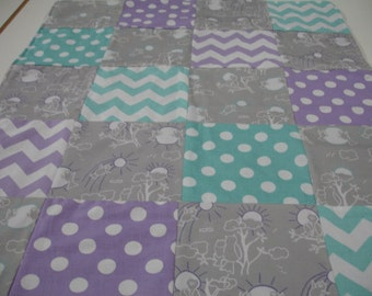 Owls You Are My Sunshine in Lavender Gray and Aqua Minky Comforter Blanket You Choose Size MADE TO ORDER No Batting