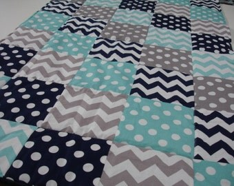 Chevrons and Dots in Navy Gray and Aqua Minky Comforter Blanket MADE TO ORDER No Batting