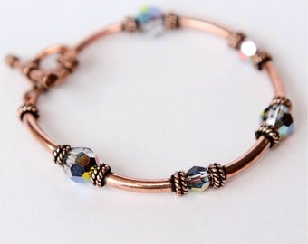 Copper Bracelets - Copper Gifts for Her - 7th Anniversary Gift - Copper jewelry - 22nd anniversary - Crystal Bracelet - 3rd - 15th - Copper