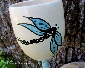 Dragonfly wine goblets glasses pottery stemware custom in your colors dragonflies wine glass