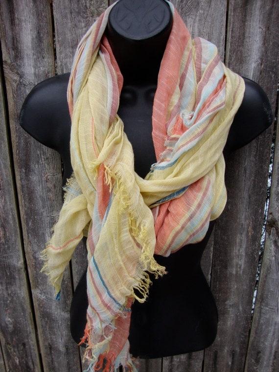 spring stripe long scarf simple fringe so soft sheer