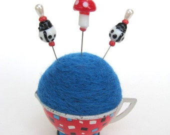 SHOP CLOSING SALE - Pin Cushion - Needle Felted - In Vintage Child's Tin Tea Cup - Red, White, And Blue