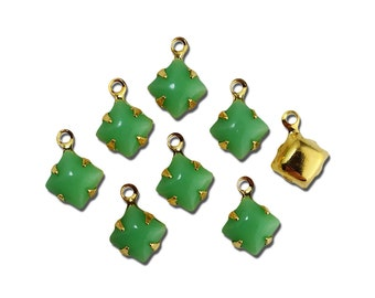 Opaque Green Square Glass Stones in 1 Loop Gold Setting 6mm squ006V