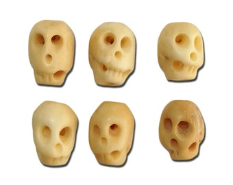 Double-Sided Hand Carved Bone Skull Beads 12x8mm (6) gyb001B
