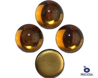 Preciosa Topaz Glass Domed Cabochons 13mm (4) cab2006E