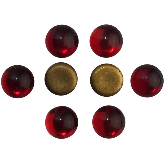 Vintage Ruby Red Glass Foiled Cabochons 7mm (8) cab2003A