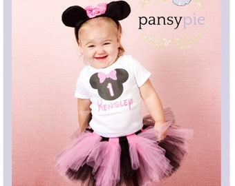 3 Pc Pink Minnie Mouse Birthday Tutu Set Personalized Minnie Mouse Onesie Disney Birthday Outfit Baby 9 12 or 18 Months