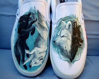 Painted Vans - Two Wolves Shoes