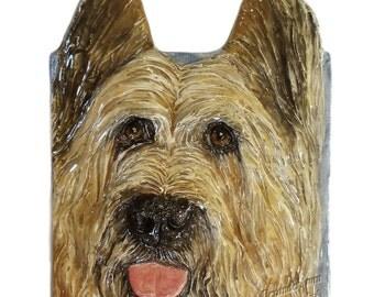 Briard Dog Tile CERAMIC Portrait Sculpture 3D Dog Art Tile Plaque FUNCTIONAL ART by Sondra Alexander Christmas gifts in stock