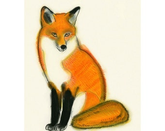 "Fox art print - Fox Wall Art - Fox Artwork Mr. Fox Drawing 4"" X 6"" (10cm X 15cm) print - 4 for 3 SALE"