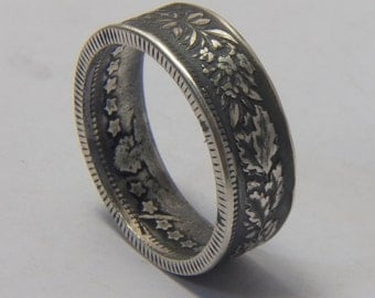 Silver coin ring Switzerland silver ring floral side out  made from genuine coin from Swiss coin you pick size