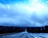 Snowy rainy wet weather road to anywhere mountains adventure travel blu moody skies clouds - Fine Art Giclee 8x12 Print