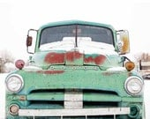Canvas Mint Green snow covered OLD dodge pickup truck oversized Photography CANVAS 11x14 or 16x20 Taos New Mexico pictures