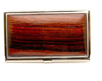 Handmade Wood Business Card Case Card Holder Cocobolo Wood