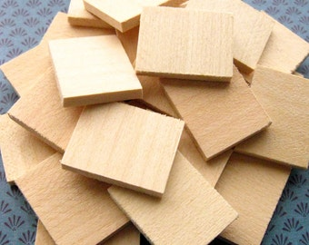 Wood Tiles, Rectangles - Set of 20 - 23mm x 28.5mm Unfinished Basswood Tiles, Pendant Blanks