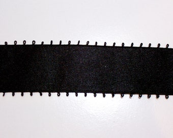 Black Ribbon, Black Satin Picot Ribbon 1 1/2 inches wide x 4 yards, Double Faced Satin
