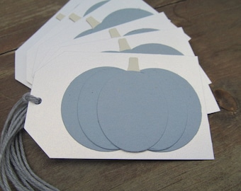 Blue Pumpkin So Grateful Set of 6 Tags on White Shimmer.  Place Setting. Goodie Bag. Fall. Thanksgiving. Shop Hang Tags. Weddings
