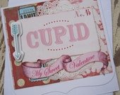 Valentine Card, Handmade Valentine,  Valentine, Valentines Day, Red, Pink, Cupid, Arrow, Sweet Valentine, Love, Handmade Card, ofg team