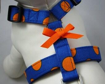 Dog Harness - Orange and Blue Polka Dot