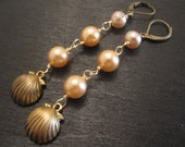 SALE Vintage brass seashells and peach and pink vintage pearls earrings Beach House