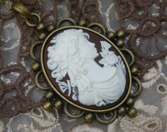 Chocolate Victorian Lady Cameo Necklace