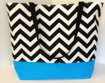 LARGE Chevron Beach Bag . Black and Turquoise . Teacher tote . chevron beach tote . great bridesmaid gifts MONOGRAMMING Available