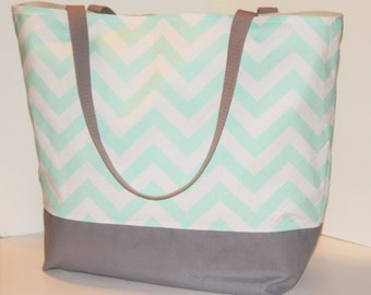 Large Chevron Tote beach bag . MINT and Gray . great teacher tote or bridesmaid gifts . Monogramming Available