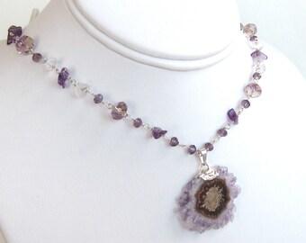 Amethyst Necklace - Solar Quartz Necklace - February Birthstone - Solar Quartz - Everyday Jewelry - Statement Necklace