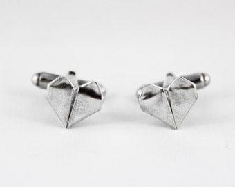 Hand-Folded Silver Origami Heart Cufflinks, Silver Cufflinks, Men's Accessories, Origami Cufflinks, Men's Fashion, Wedding cufflinks, heart