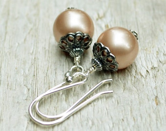 Silver Antiqued Pearl Earrings... Swarovski Pearl, Filigree, Choice of colors, Wedding Jewelry, Under 25