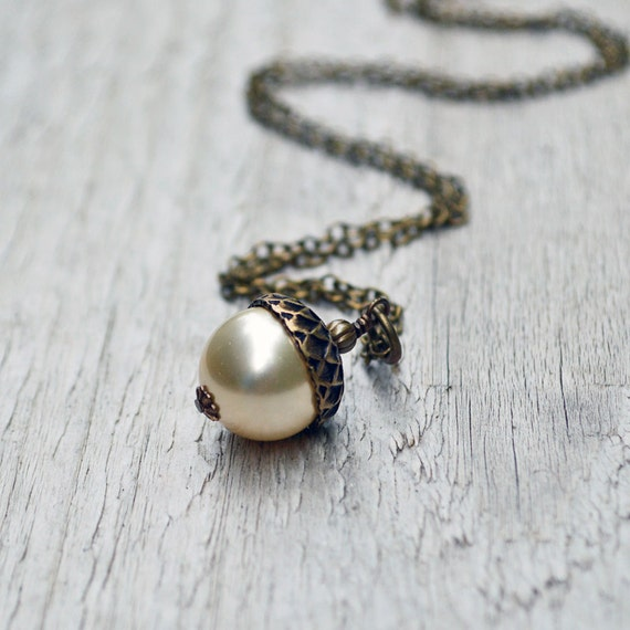 Pearl Acorn Necklace - Antiqued Brass Chain Swarovski Crystal Pearl Choice of Colors Thanksgiving Autumn