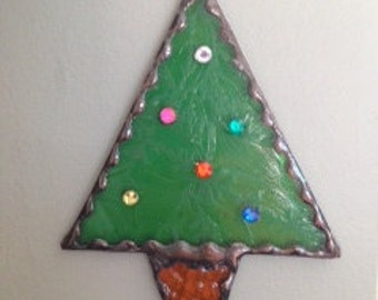Christmas tree  MINI Stained Glass Ornaments   Set of 4