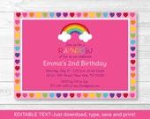 Cute Pink Rainbow Birthda...