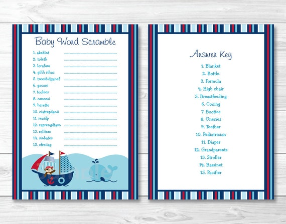 Details About Nautical Pirate Whale Baby Shower Baby Word Scramble Game Cards Printable