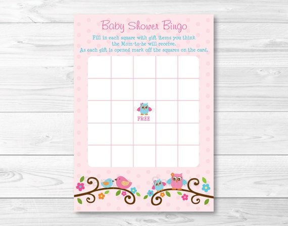 Sweet Pink Baby Birds Printable Baby Shower Wishes for Baby Advice Cards