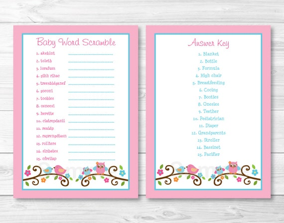 Cute Owl Baby Word Scramble Game / Owl Baby Shower / Bird ...