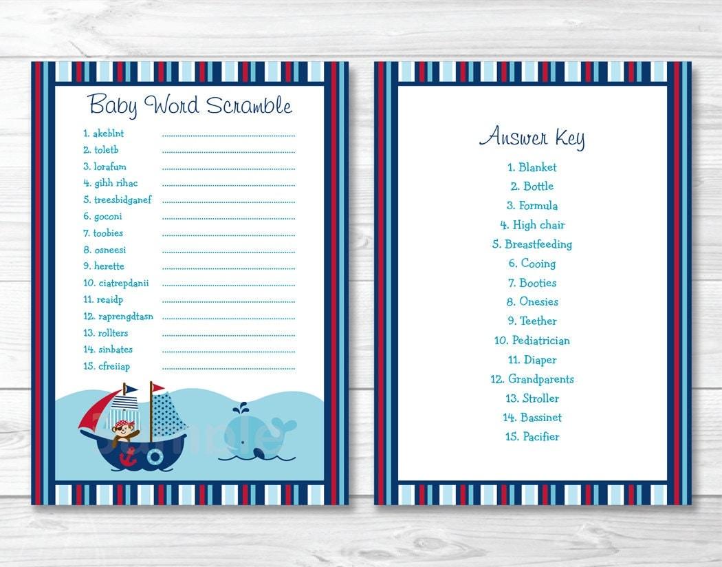 Nautical Baby Shower Word Scramble Game / Nautical Baby Shower