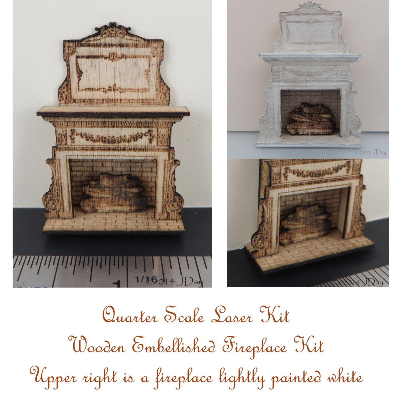 kit embellished fireplace laser cut kit 1 4 inch 1 48 quarter