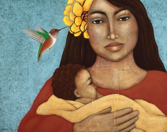 Mother and Baby Folk Art Print of Mixed Media Portrait Painting By Tamara Adams