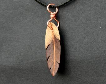 Handcarved Rainbow Poplar Wood Feather / Leaf Pendant  J150203