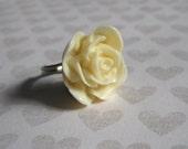 Vintage Style Rose Ring, Adjustable Ring, Filigree Ring, Cream Rose Ring